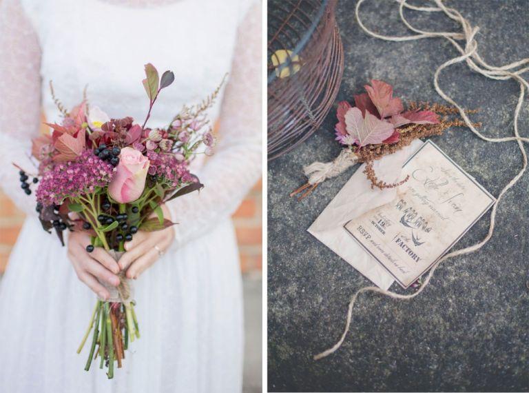 Brudbukett Höstbukett Bröllopsinbjudan Vintage